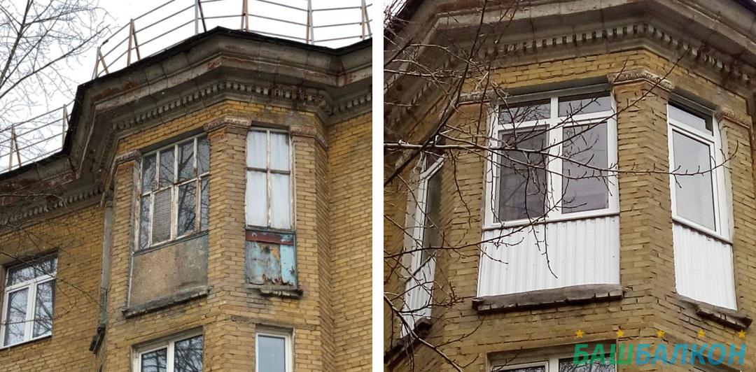 до и после - остекление окна