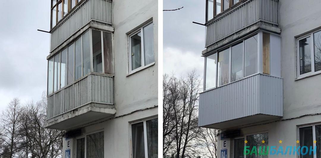 до и после - застекление балкона