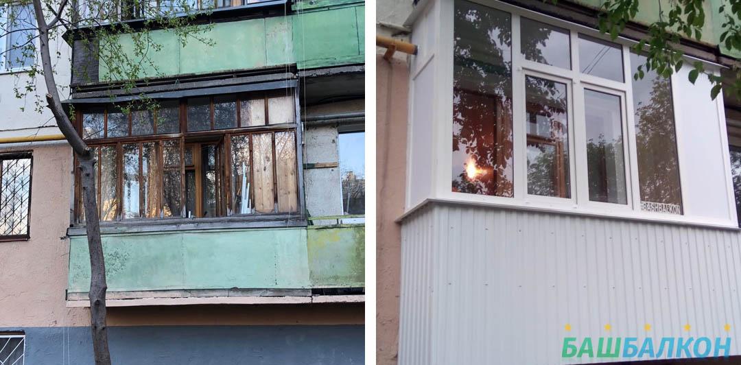 до и после - остекление балкона